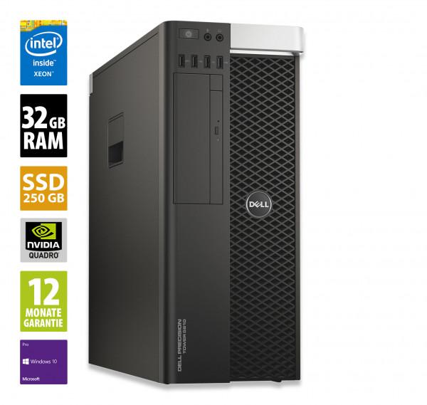 Dell Precision T5810 - Xeon E5-1620 v3 @ 3,5 GHz - 32GB RAM - 250GB SSD - DVD-ROM - Nvidia Quadro K4200 - Win10Pro