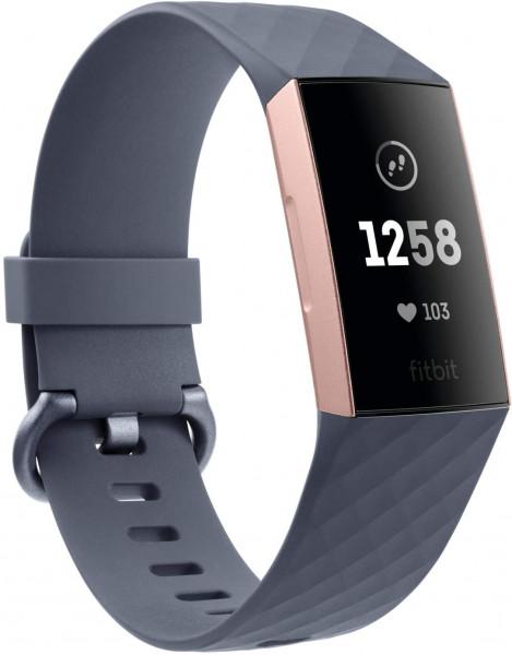 Fitbit Charge 3 - Rotgold - Aktivitätsmesser mit Sportband - blaugrau - einfarbig - Bluetooth
