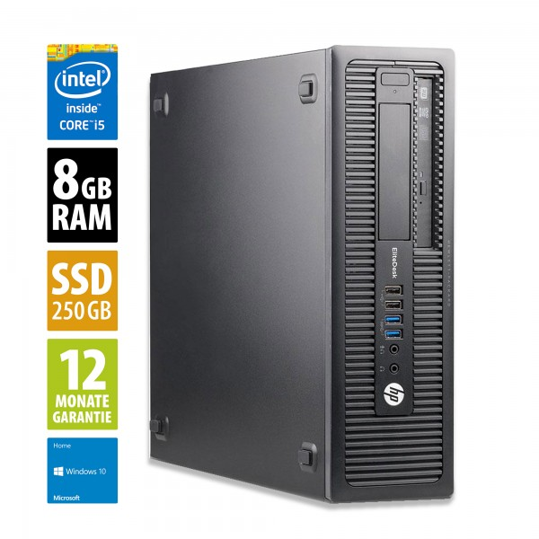 HP EliteDesk 800 G1 SFF - Core i5-4570 @ 3,2 GHz - 8GB RAM - 250GB SSD - DVD-RW - Win10Home